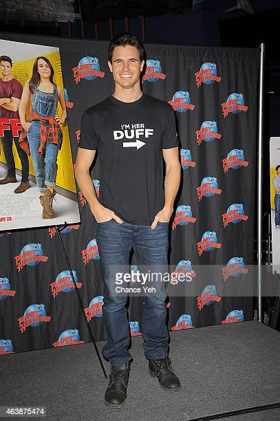 Robbie Amell attends The Cast Of 'The Duff' Visit Planet Hollywood Times Square at Planet Hollywood Times Square on February 19 2015 in New York City