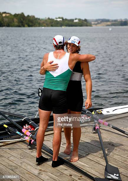 Robbie and Karl Manson from Central RPC win the premier mens double sculls during the Bankstream New Zealand Rowing Championships at Lake Karapiro on...