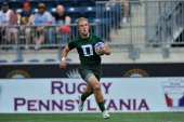 Robbie Anthony of Dartmouth College runs the ball against Notre Dame during the Collegiate Rugby Championship at PPL Park on May 31 2014 in Chester...