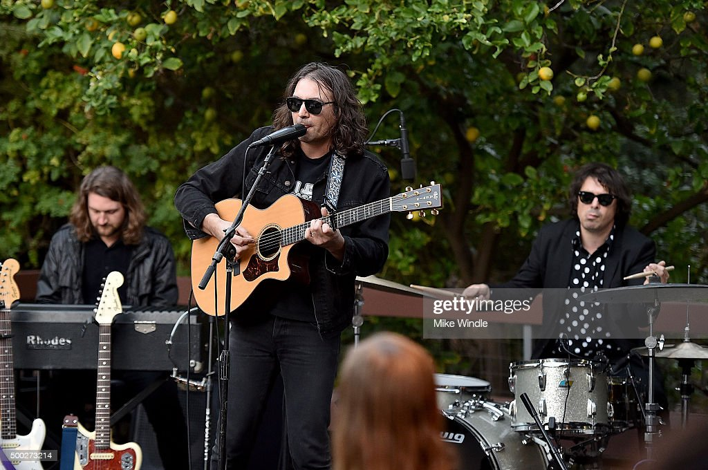 Robbie Bennett, Adam Granduciel and Anthony LaMarca of The War On Drugs perform onstage during the MusiCares house concert with Ben Gibbard, St. Vincent and The War On Drugs on December 6, 2015 in Pasadena, California.