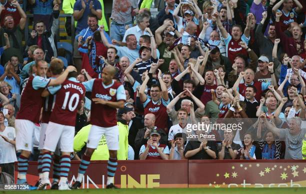 Robbie Blake of Burnley celebrates scoring their first goal during the FA Barclays Premier League match between Burnley and Manchester United at Turf...