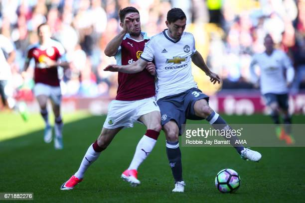 Robbie Brady of Burnley and Matteo Darmian of Manchester United during the Premier League match between Burnley and Manchester United at Turf Moor on...