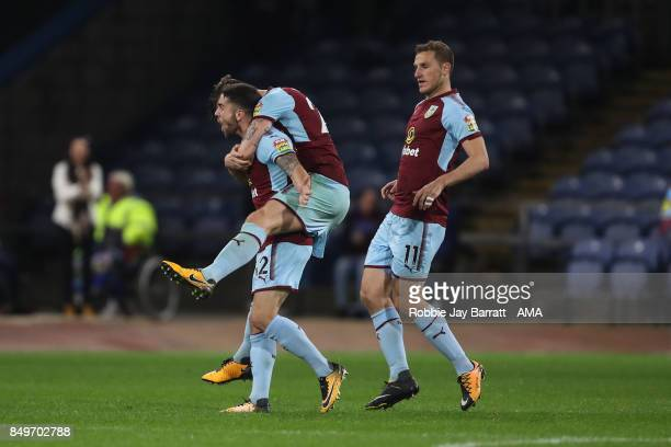 Robbie Brady of Burnley celebrates after scoring a goal to make it 22 during the Carabao Cup Third Round match between Burnley and Leeds United at...