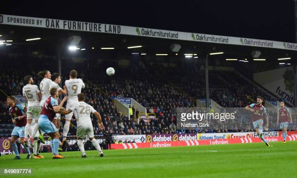 Robbie Brady of Burnley scores from a free kick during the Carabao Cup Third Round match between Burnley and Leeds United at Turf Moor on September...