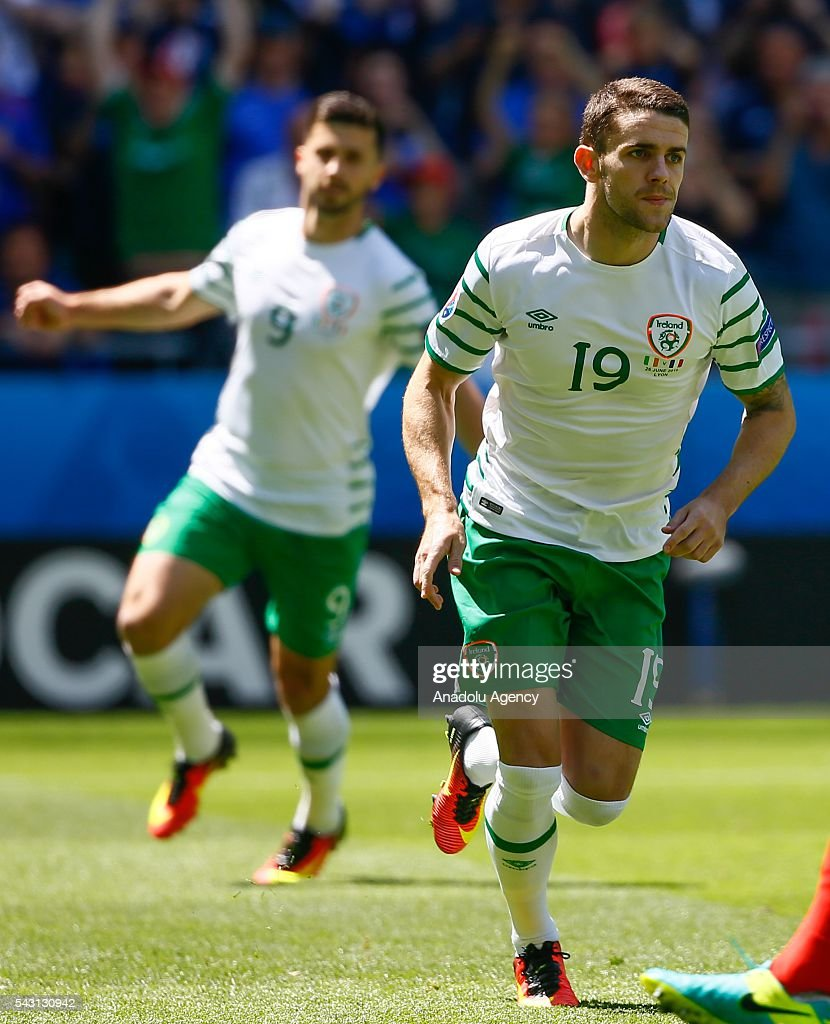 Robbie Brady of Ireland celebrates after scoring a goal during the UEFA Euro 2016 Round of 16 football match between France and Ireland at the Stade de Lyon in Lyon, France on June 26, 2016.