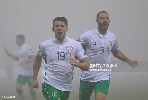 HERZEGOVINA NOVEMBER 13 Robbie Brady of Ireland celebrates scoring a goal during the EURO 2016 Qualifier PlayOff First Leg match at Bilino Polje...