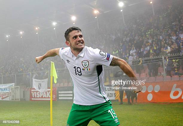 HERZEGOVINA NOVEMBER 13 Robbie Brady of Ireland celebrates scoring a goal during the EURO 2016 Qualifier PlayOff First Leg between Bosnia and...