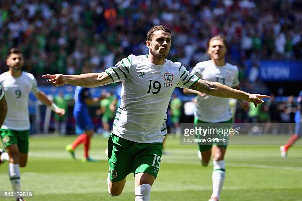 Robbie Brady of Republic of Ireland celebrates scoring the opening goal during the UEFA EURO 2016 round of 16 match between France and Republic of...