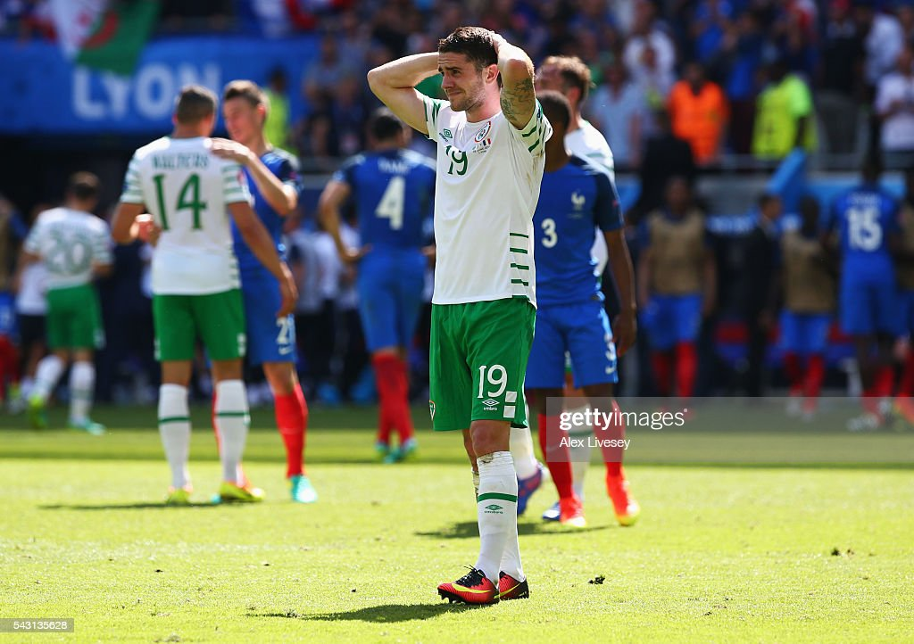 Robbie Brady of Republic of Ireland shows his dejection after their team's 1-2 defeat in the UEFA EURO 2016 round of 16 match between France and Republic of Ireland at Stade des Lumieres on June 26, 2016 in Lyon, France.