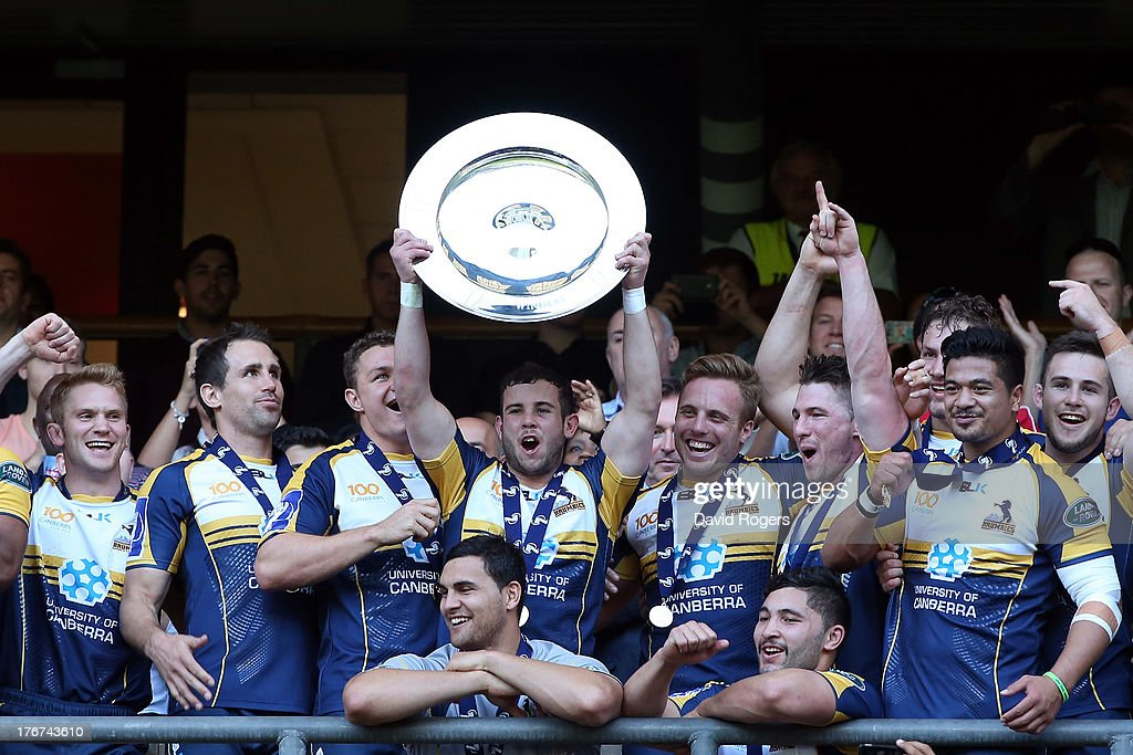 Robbie Coleman, captain of the ACT Brumbies lifts the World Club 7's Cup after defeating Auckland in the final during the World Club Cup 7's at Twickenham Stadium on August 18, 2013 in London, England.