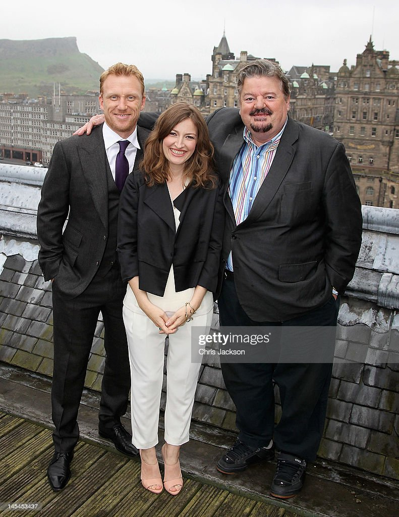 Robbie Coltrane Kelly Macdonald and Kevin McKidd pose for a photograph at the global press event for Disney Pixar's 'Brave' on May 30 2012 in...