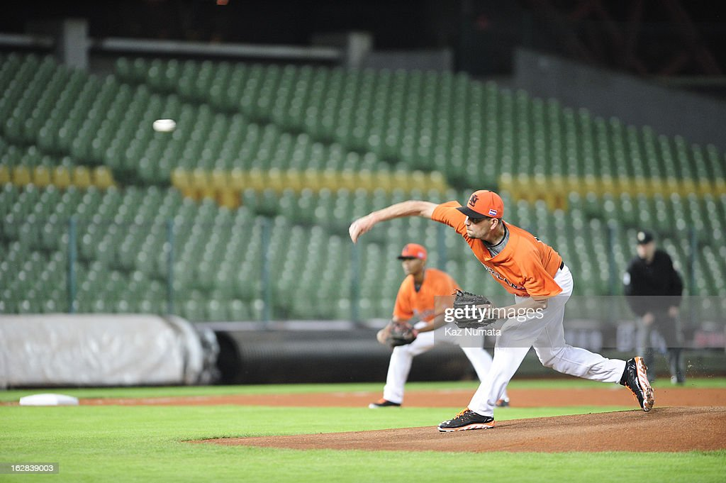 Robbie Cordemans #19 of Team Netherlands pitches during the World Baseball Classic exhibition game against the Industrial All-Star Team at Intercontinental Stadium on Tuesday, February 26, 2013 in Taichung, Tawain.
