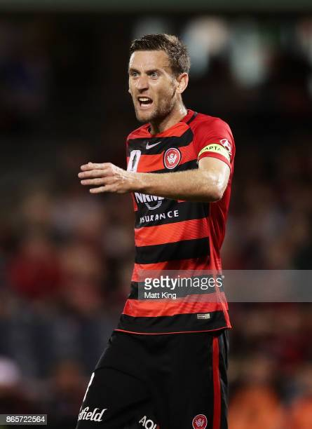 Robbie Cornthwaite captain of the Wanderers shouts to team mates during the FFA Cup Semi Final match between the Western Sydney Wanderers and...