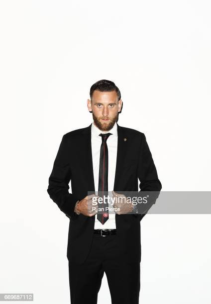 Robbie Cornthwaite of the Wanderers arrives ahead of the Western Sydney Wanderers Medal Night at the International Convention Centre on April 18 2017...