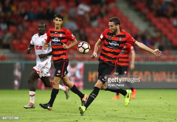 Robbie Cornthwaite of the Wanderers clears the ball during the round 22 ALeague match between the Western Sydney Wanderers and Adelaide United at...