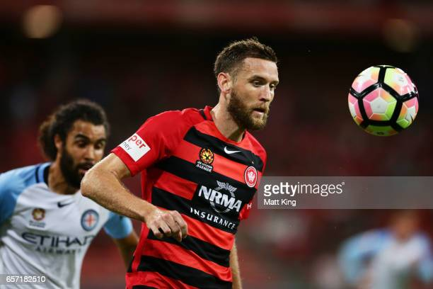 Robbie Cornthwaite of the Wanderers follows the ball during the round 24 ALeague match between the Western Sydney Wanderers and Melbourne City FC at...