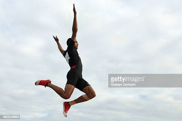 Robbie Crowther of Australia competes in the Men's long jump open during the IAAF Melbourne World Challenge at Olympic Park on March 22 2014 in...
