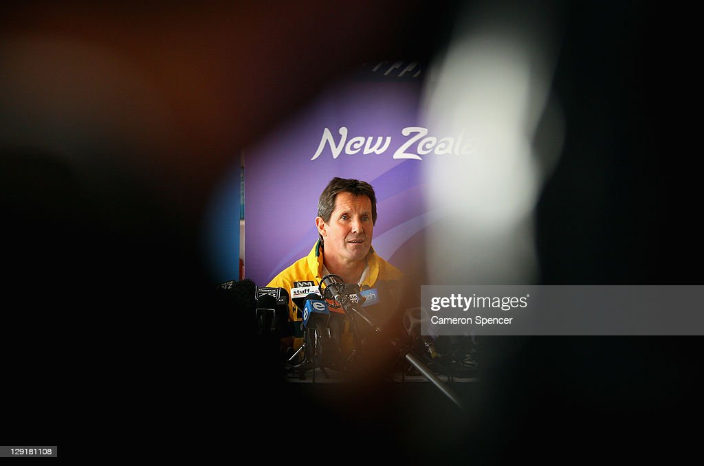 <a gi-track='captionPersonalityLinkClicked' href=/galleries/search?phrase=Robbie+Deans&family=editorial&specificpeople=606884 ng-click='$event.stopPropagation()'>Robbie Deans</a>, coach of the Wallabies talks during an Australia IRB Rugby World Cup 2011 media session at The Spencer On Byron on October 14, 2011 in Auckland, New Zealand.