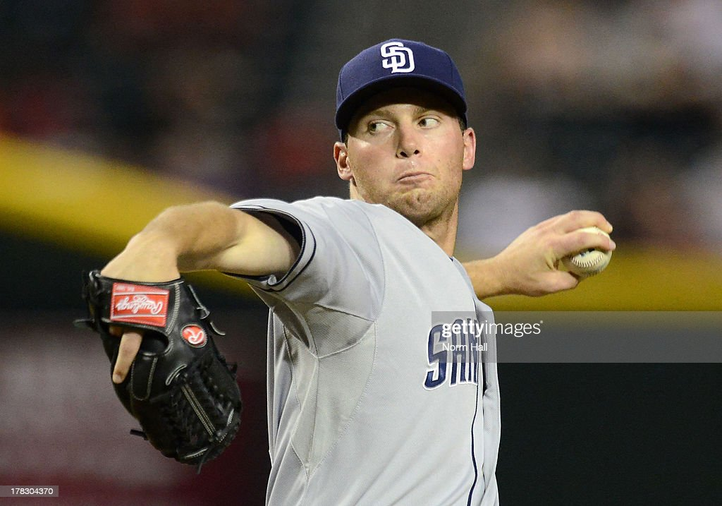 Robbie Erlin #41 of the San Diego Padres delivers a pitch against the Arizona Diamondbacks at Chase Field on August 28, 2013 in Phoenix, Arizona.
