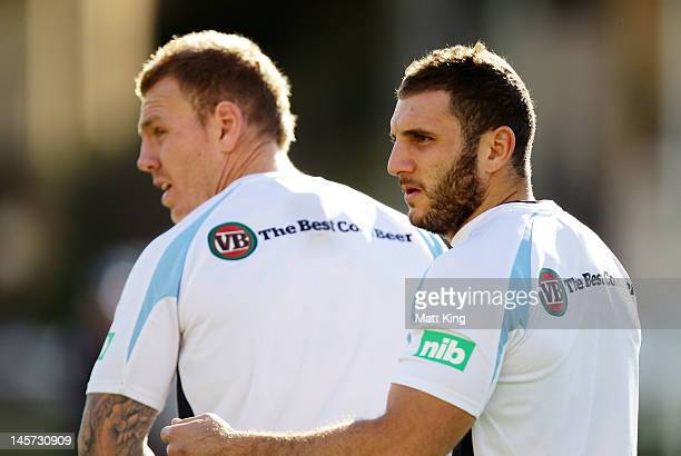 Robbie Farah and Ben Creagh look on during a New South Wales Blues state of origin training session at Coogee Oval on June 5 2012 in Sydney Australia