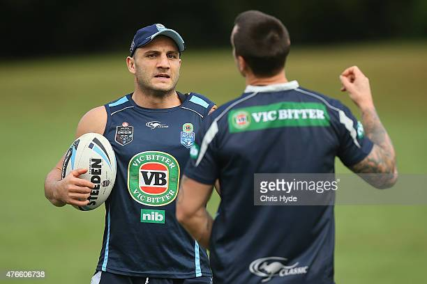 Robbie Farah and Mitchell Pearce talk during the New South Wales Blues State of Origin team training session at the Novotel on June 11 2015 in Coffs...