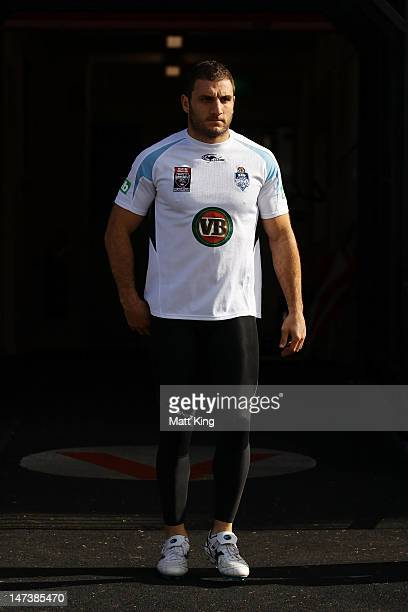 Robbie Farah arrives at a New South Wales Blues State of Origin training session at WIN Jubilee Stadium on June 29 2012 in Sydney Australia