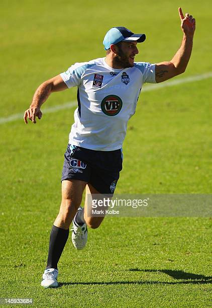 Robbie Farah celebrates a try during a New South Wales Blues state of origin training session at Coogee Oval on June 8 2012 in Sydney Australia