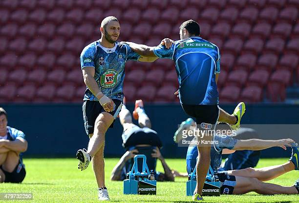 Robbie Farah is seen warming up during the New South Wales State of Origin Captain's Run at Suncorp Stadium on July 7 2015 in Brisbane Australia
