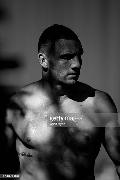 Robbie Farah looks on during a New South Wales Blues State of Origin training session at Novotel Coffs Harbour on May 20 2015 in Coffs Harbour...