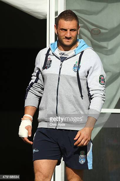 Robbie Farah looks on during a New South Wales State of Origin training session at Novotel Coffs Harbour on July 2 2015 in Coffs Harbour Australia