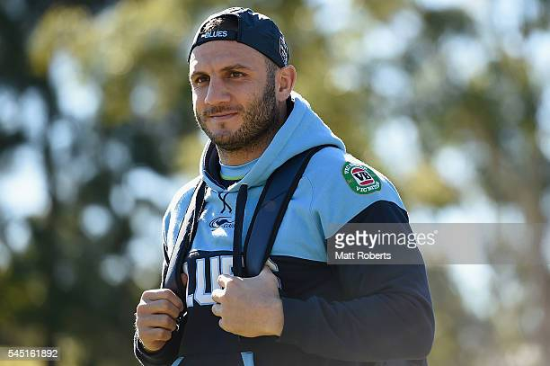 Robbie Farah of the Blues arrives during the New South Wales Blues State of Origin training session on July 6 2016 in Coffs Harbour Australia
