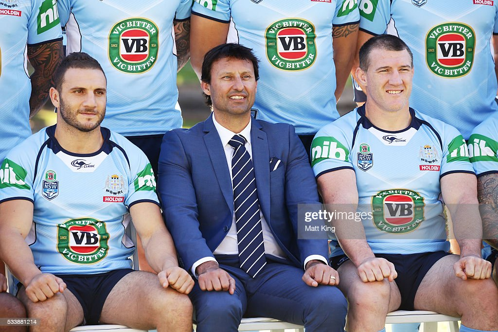 Robbie Farah of the Blues, Blues head coach Laurey Daley and Paul Gallen of the Blues pose during a New South Wales Blues NRL State of Origin team photo session at The Novatel on May 24, 2016 in Coffs Harbour, Australia.