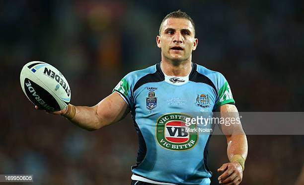 Robbie Farah of the Blues is pictured during game one of the ARL State of Origin series between the New South Wales Blues and the Queensland Maroons...