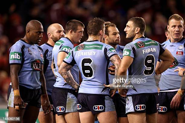 Robbie Farah of the Blues looks on during game one of the ARL State of Origin series between the Queensland Maroons and the New South Wales Blues at...