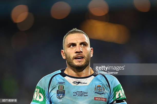 Robbie Farah of the Blues looks on during game one of the State Of Origin series between the New South Wales Blues and the Queensland Maroons at ANZ...