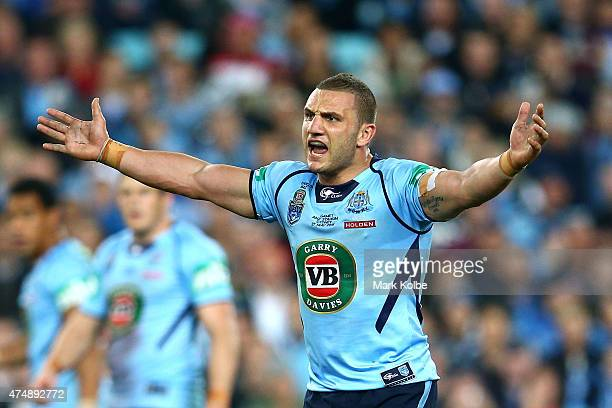 Robbie Farah of the Blues reacts to the referee during game one of the State of Origin series between the New South Wales Blues and the Queensland...