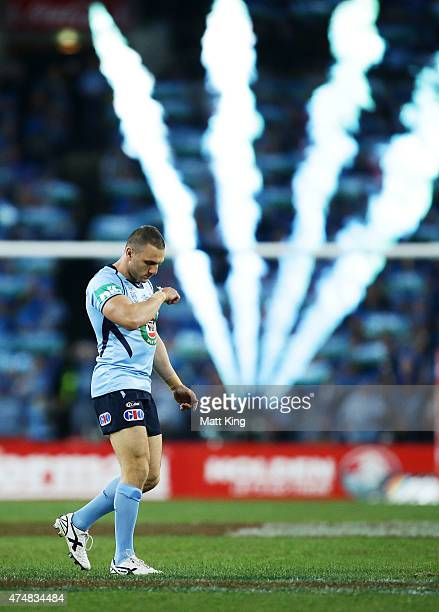 Robbie Farah of the Blues runs onto the field during game one of the State of Origin series between the New South Wales Blues and the Queensland...