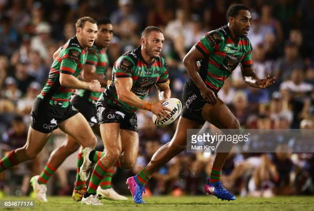 Robbie Farah of the Rabbitohs runs with the ball during the NRL trial match between the Manly Sea Eagles and the South Sydney Rabbitohs at...