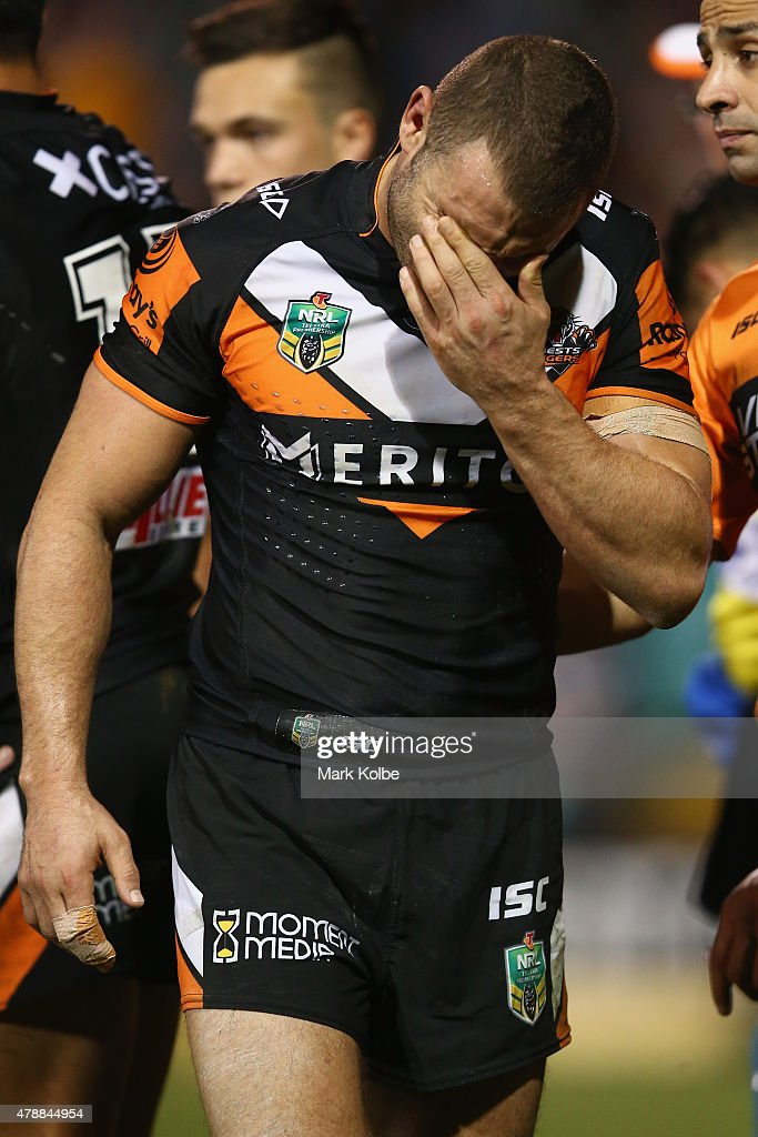 Robbie Farah of the Wests Tigers looks dejected during the round 16 NRL match between the Wests Tigers and the Penrith Panthers at Leichhardt Oval on June 28, 2015 in Sydney, Australia.