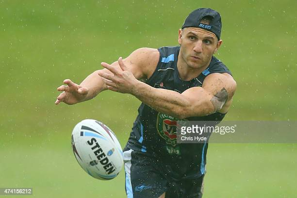 Robbie Farah passes while wearing a bio patch during a New South Wales Blues State of Origin training session at Novotel Coffs Harbour on May 21 2015...
