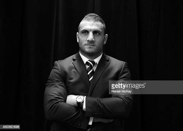 Robbie Farah poses for a photograph during the New South Wales Blues State of Origin team announcement at ANZ Stadium on June 10 2014 in Sydney...
