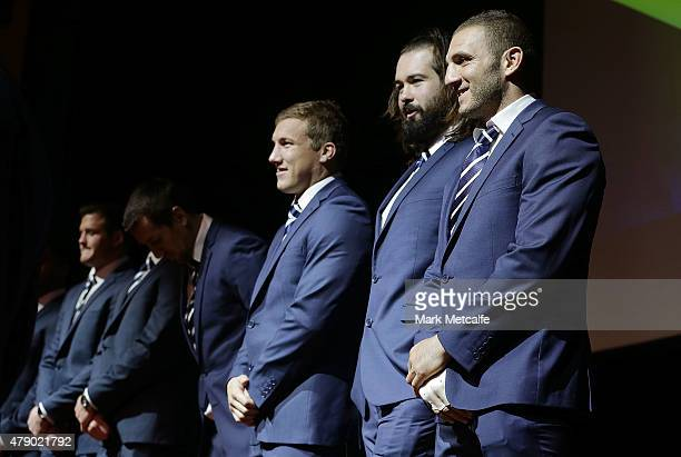 Robbie Farah smiles on stage during the New South Wales Blues State of Origin team announcement at Revesby Workers Club on June 30 2015 in Sydney...