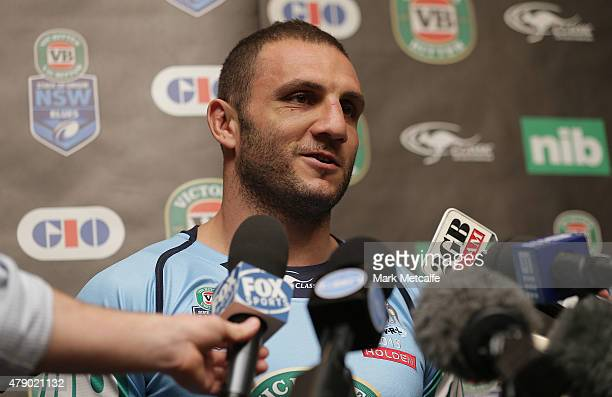 Robbie Farah speaks to media during the New South Wales Blues State of Origin team announcement at Revesby Workers Club on June 30 2015 in Sydney...