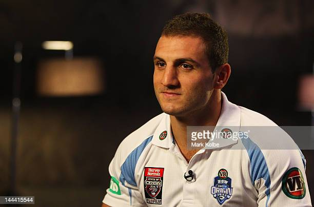 Robbie Farah speaks to the media during a New South Wales Blues Origin media session at Penrith Panthers on May 14 2012 in Sydney Australia
