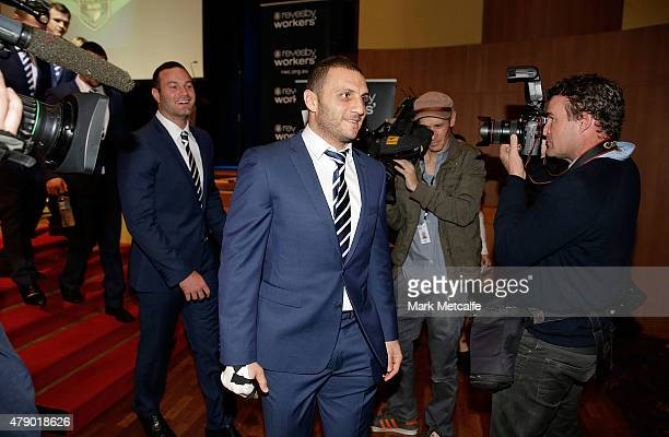 Robbie Farah walks from the stage during the New South Wales Blues State of Origin team announcement at Revesby Workers Club on June 30 2015 in...