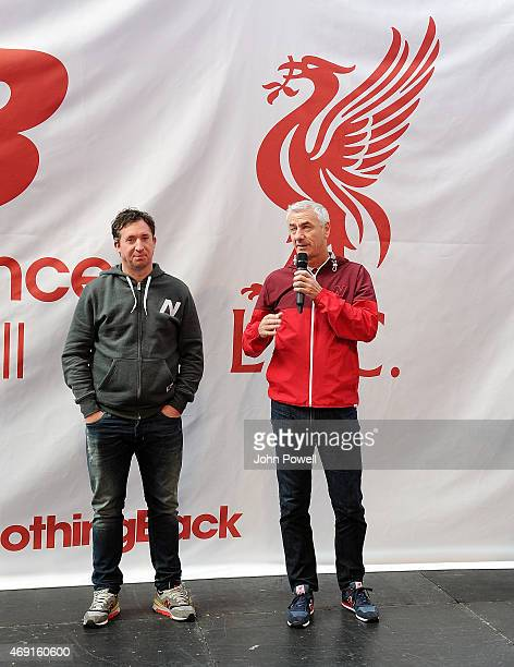 Robbie Fowler and Ian Rush ambassadors of Liverpool during the kit launch at Anfield on April 10 2015 in Liverpool England