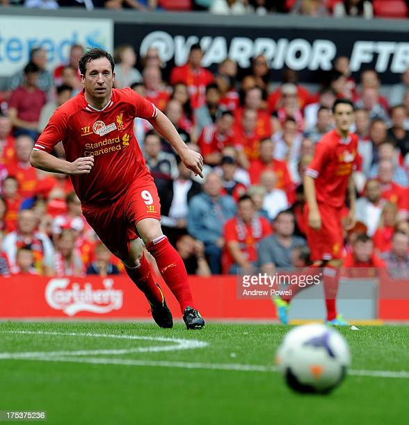 Robbie Fowler formerly of Liverpool in action during the Steven Gerrard Testimonial Match between Liverpool and Olympiacos at Anfield on August 03...