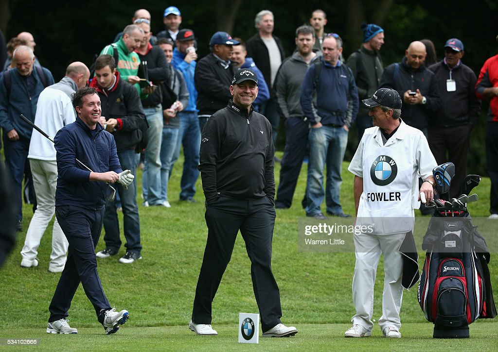 <a gi-track='captionPersonalityLinkClicked' href=/galleries/search?phrase=Robbie+Fowler&family=editorial&specificpeople=206154 ng-click='$event.stopPropagation()'>Robbie Fowler</a> has a laugh with Thomas Bjorn of Denmark during the Pro-Am prior to the BMW PGA Championship at Wentworth on May 25, 2016 in Virginia Water, England.