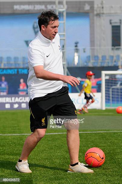 Robbie Fowler Liverpool legend plays a game of football with the winners during a coaching session during the Barclays Premier League 'Live' event on...