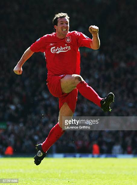 Robbie Fowler of Liverpool celebrates scoring the opening goal during the Barclays Premiership match between Liverpool and Bolton Wanderers at...